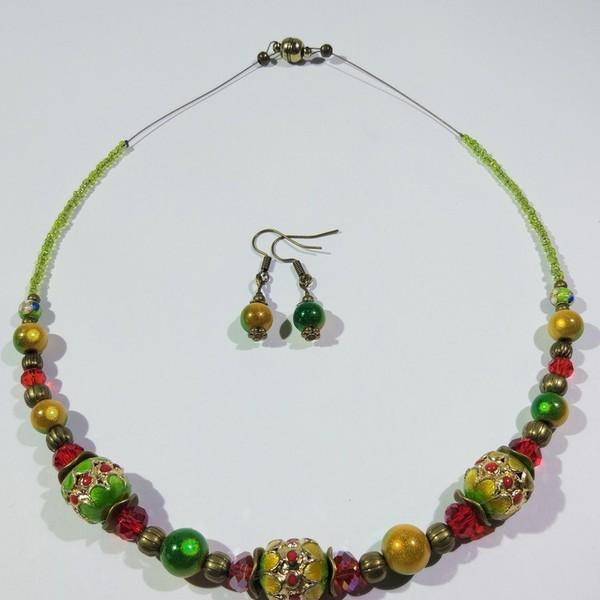 Thumbnail for Cloisonne Perlen Kette ein Statement in grün gelb