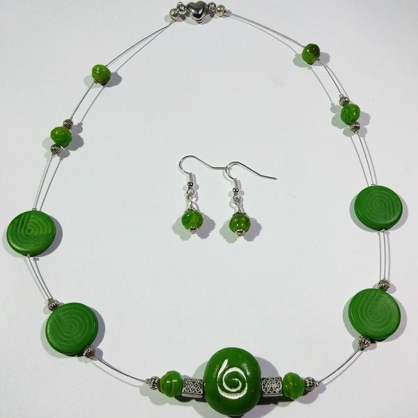 Thumbnail for Kette grün silber mit stilisierten Schnecken