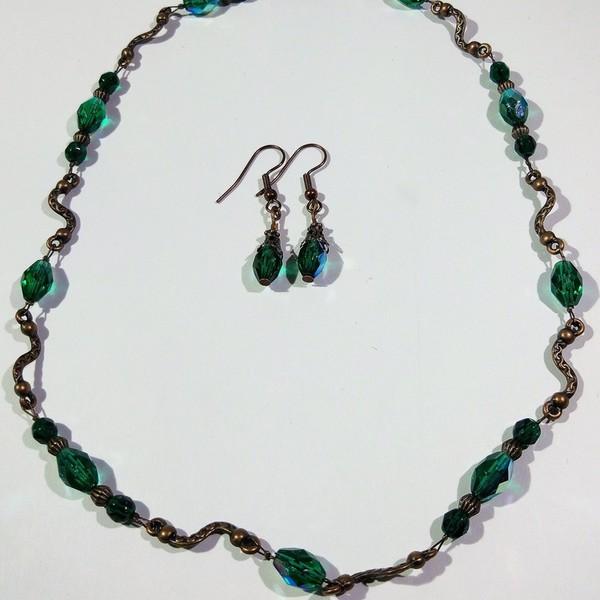 Thumbnail for Kette Kupfer Schlangen und Glasschliff in Smaragd